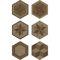 Гранит керамический 173073 GEA Esagona Decoro Colori Caldi 40.9x47.2