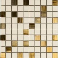 Мозаика керамическая настенная 68902 GOLD MOSAICO RIGA Crema/Oro 2.5x2.5 25x25