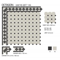 Гранит керамический 4416 OCT14-1Ch White OCTAGON 16/Black Dots 14 30x30